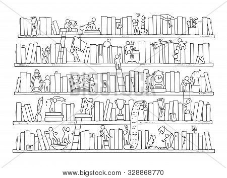 Sketch Of People Teamwork, Books,cooperation. Doodle Cartoon Scene With Bookshelves. Hand Drawn Vect