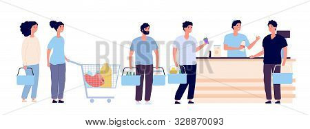 Shopping Queue. People With Shopping Card Waiting In Line Buy Product In Grocery Store At Counter. S