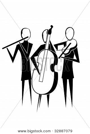 stylized silhouette image band