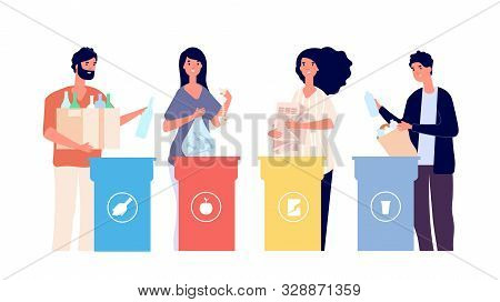 People Sorting Trash. Recyclable Garbage In Different Containers. Recycling Eco Vector Concept. Recy