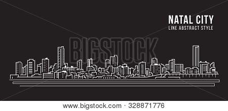 Cityscape Building Panorama Line Art Vector Illustration Design - Natal City