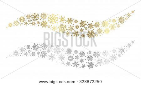 Snowflake Waves. Gold Silver Snowflakes Vector Element. Christmas Snow Design. Winter Festive Decora