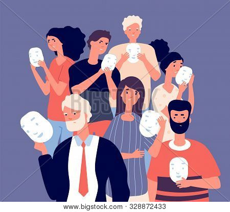 People Covering Faces With Masks. Group Of Persons Hide Negative Face Emotion Behind Positive Mask,