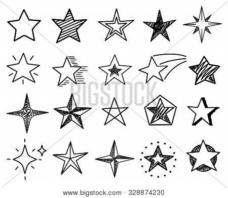Sketch Stars. Cute Star Shapes, Black Starburst Doodle Signs For Christmas Decoration Isolated Vecto