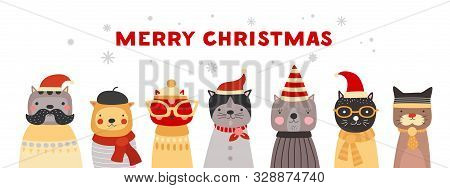 Christmas Cats. Cute Kittens In Santa Hats, Winter Headwear And Glasses. Happy Xmas Pets Vector Gree