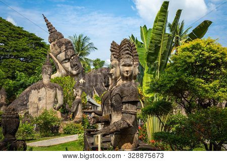 Buddha Park Xieng Khouane In Vientiane, Laos. Famous Travel Tourist Landmark Of Buddhist Stone Statu