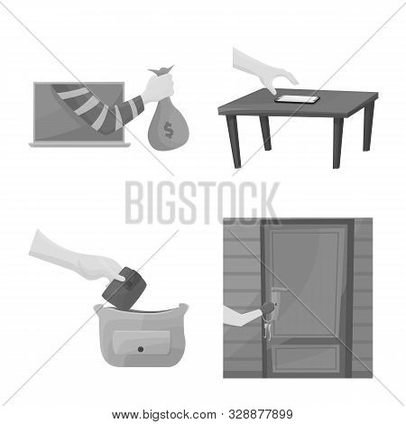 Vector Illustration Of Pickpocket And Fraud Sign. Set Of Pickpocket And Steal Stock Vector Illustrat