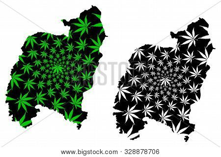 Amnat Charoen Province (kingdom Of Thailand, Siam, Provinces Of Thailand) Map Is Designed Cannabis L
