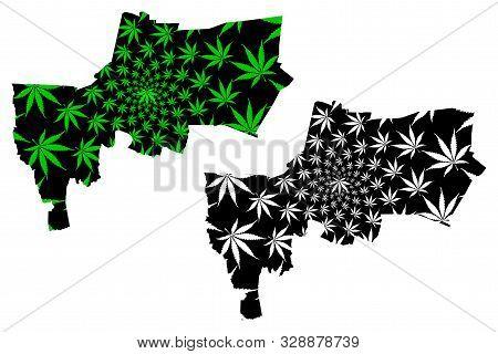 Bangkok Province (kingdom Of Thailand, Siam, Provinces Of Thailand) Map Is Designed Cannabis Leaf Gr