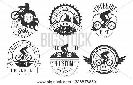 Extreme Freeride Retro Logo Templates Set, Bicycles Extreme Challenge Monochrome Badges Vector Illus