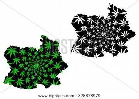 Chai Nat Province (kingdom Of Thailand, Siam, Provinces Of Thailand) Map Is Designed Cannabis Leaf G
