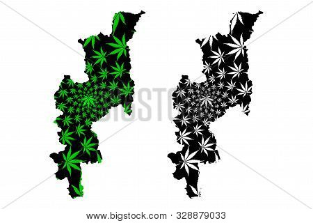 Chiang Mai Province (kingdom Of Thailand, Siam, Provinces Of Thailand) Map Is Designed Cannabis Leaf