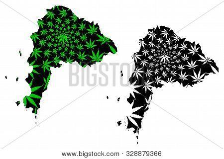 Chonburi Province (kingdom Of Thailand, Siam, Provinces Of Thailand) Map Is Designed Cannabis Leaf G