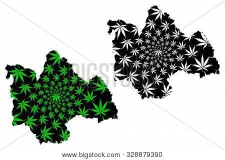 Kalasin Province (kingdom Of Thailand, Siam, Provinces Of Thailand) Map Is Designed Cannabis Leaf Gr
