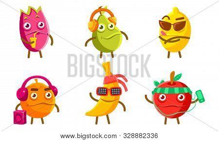 Funny Exotic Fruit Characters Set, Pitahaya, Pear, Lemon, Orange, Banana, Apple Different Activities