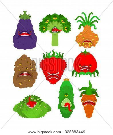 Vegetables Monster Set. Vegetable Gmo Mutant. Genetically Modified Tomato And Cabbage. Bell Pepper A