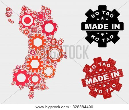 Mosaic Gear Ko Tao Map And Textured Seal. Vector Geographic Abstraction In Red Colors. Mosaic Of Ko