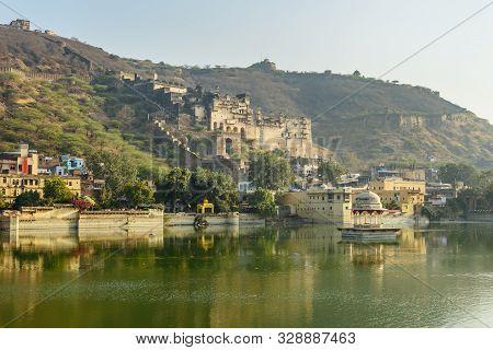 Taragarh Fort And Nawal Sagar Lake In Bundi. Rajasthan. India