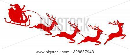 To The Right Flying Curved Christmas Sleigh Santa And Four Reindeers Red