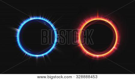 Hologram Effect Circles Set. Neon Hud Blue And Orange Glow Round Rays Isolated On Black Background.