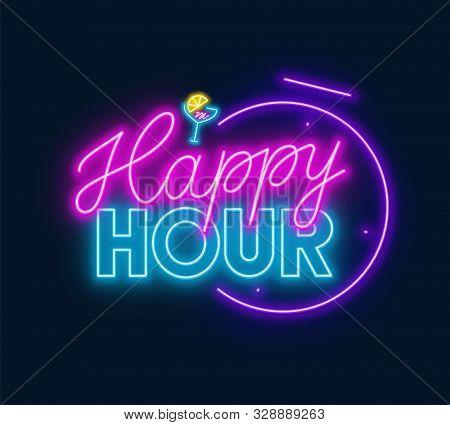 Happy Hour Neon Sign On Dark Background.
