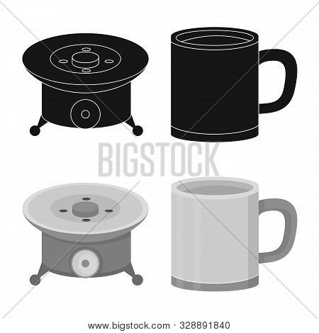 Vector Illustration Of Cookout And Wildlife Logo. Collection Of Cookout And Rest Stock Vector Illust