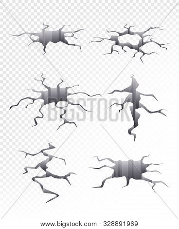 Cracked Ground. Damaged Catastrophe Dry Earth 3d Crack Hole Vector Collection Realistic. Illustratio