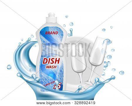 Dish Liquid Detergent. Water Splashes, Glasses, White Plate Vector Illustration. Detergent Bottle An