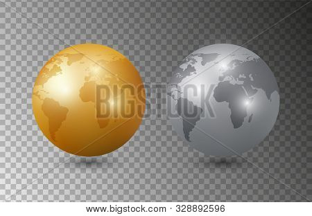 Gold Silver Earth. 3d Earth Planet Models Vector Illustration. Planet Isolated On Transparent Backgr