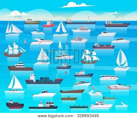 Ship In Sea. Sailing Boats And Passenger Cruise Ship Travel In Ocean Cargo Submarine And Yacht Vecto