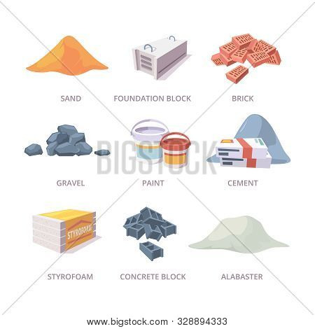 Builder Materials. Construction Tools Pile Bricks Gypsum Cement Sand Vector Materials Collection In