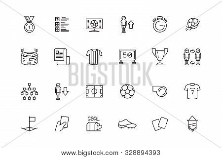 Football Icon. Sport Activity Items Soccer Balls Players Shirt Stadium Yellow Card Shoes Vector Foot