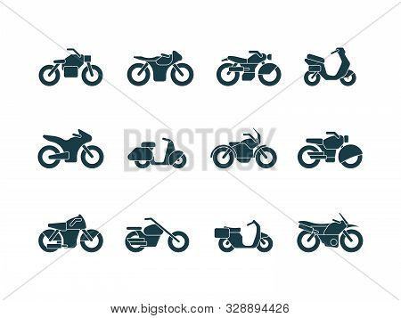 Motorcycle Silhouettes. Vehicle Symbols Motorbikes Travel Cycling Bike Chopper Street Transport Vect