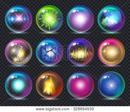 Magic Balls. Magician Nature Effect In Crystal Transparent Globe Spheres With Flame Frozy Flashes Ve