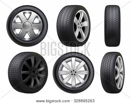 Wheels Realistic. Tyres Road Maintenance Vector Automobile 3d Automobile Items Collection. Auto Whee