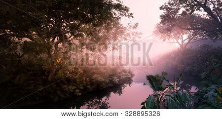 Fantasy Evening Sunset In Jungle Paradise. Dense Rainforest Vegetation, Calm Pond In Misty Volumetri