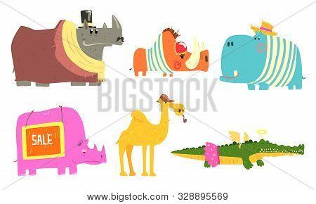 Funny African Animals Cartoon Characters Set, Rhinoceros, Porcupine, Camel, Crocodile, Hippopotamus