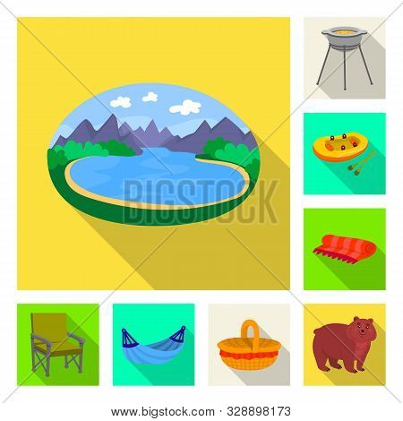 Vector Design Of Cookout And Wildlife Sign. Set Of Cookout And Rest Stock Symbol For Web.