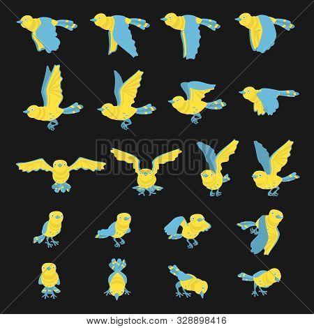 Illustration Vector Set Frame Animation Carton Bird