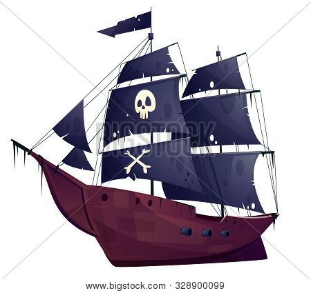 Cartoon Pirate Ship Isolated On White Background. Wooden Boat With Black Sails, Cannons And Sailyard