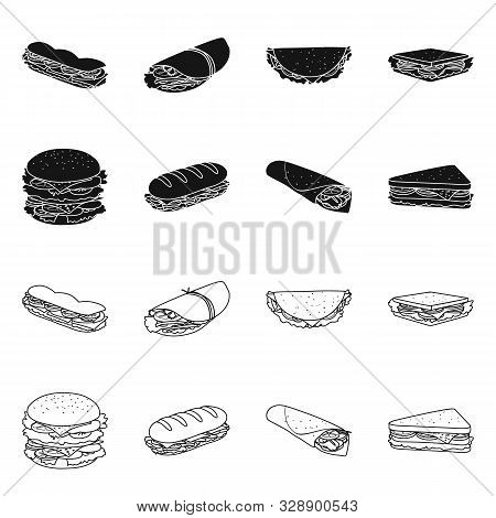 Vector Design Of Dinner And Cuisine Sign. Collection Of Dinner And Breakfast Vector Icon For Stock.