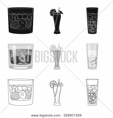Vector Design Of Liquor And Restaurant Icon. Set Of Liquor And Ingredient Stock Vector Illustration.