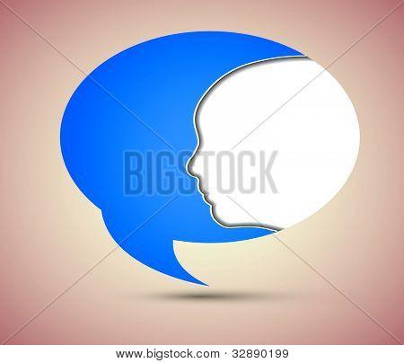 Vector concept face and bubble speech. Eps10