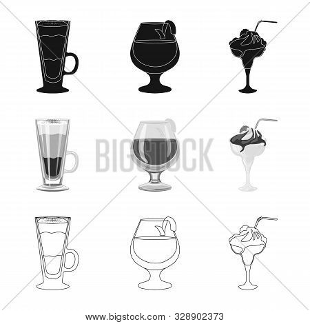 Isolated Object Of Liquor And Restaurant Symbol. Set Of Liquor And Ingredient Stock Vector Illustrat