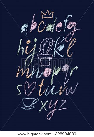 Handwritten Font. Script. Latin Calligraphic Set With Numbers And Punctuation Written With Chalk. Ch