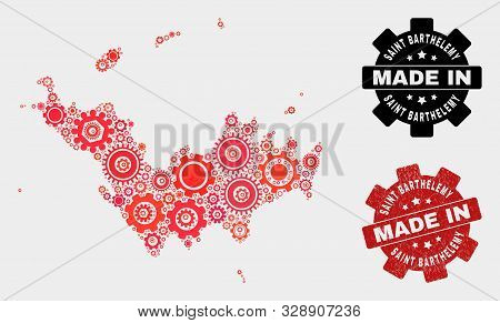 Mosaic Technical Saint Barthelemy Map And Scratched Stamp. Vector Geographic Abstraction In Red Colo