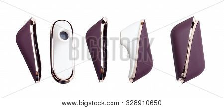 Set Of Sex Toy For Adult, Vibrator For Clitoris Stimulation. Isolated On White Background.