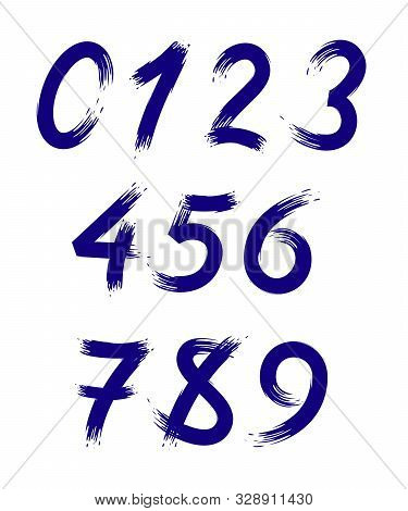 Vector Set Of Numbers Stylized As Brush Strokes. Eps 10