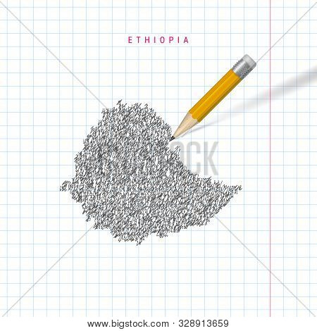 Ethiopia Sketch Scribble Map Drawn On Checkered School Notebook Paper Background. Hand Drawn Vector