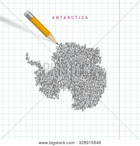 Antarctica Sketch Scribble Map Drawn On Checkered School Notebook Paper Background. Hand Drawn Vecto